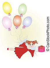 balloon., fée, cadeau
