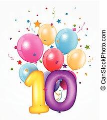 balloon, fødselsdag, antal, glade