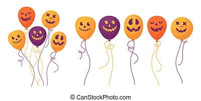 Balloon faces Halloween cartoon set flat vector