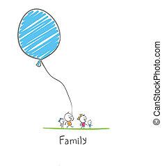 balloon, famille, tenue, heureux