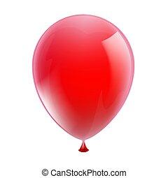 balloon, fehér, elszigetelt, háttér, piros
