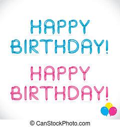 balloon, feliz aniversário, frase