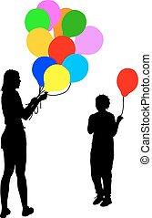 balloon., femme, illustration, silhouettes, vecteur, enfant noir, donne