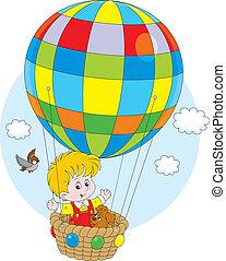 balloon, fliegendes, kind