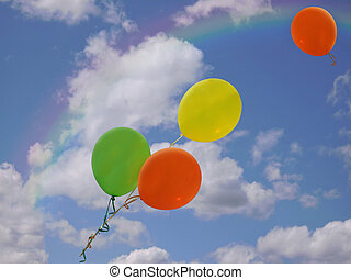 Balloon Flight - Colorful balloons escaping in rainbow sky.