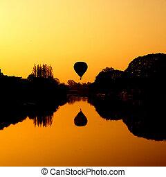 balloon, fluß, heiß, sonnenaufgang, luft
