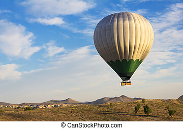 Balloon flying over Cappadocia, Turkey - Hot air balloon...