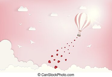 Balloon flying over Cloud with heart float on the sky. and scatter heart in the sky, vector art and illustration of love and valentine, Digital paper craft style. Paper art of pink background.