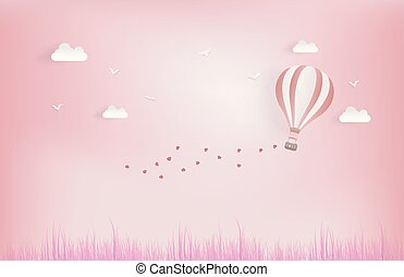Balloon flying over grass with heart float on the sky. and scatter heart in the sky, vector art and illustration of love and valentine, Digital paper craft style. Paper art of pink background.