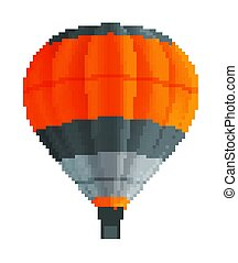 Balloon for flights. Aerostat, airy flying machine. Hot air balloon isolated on white background