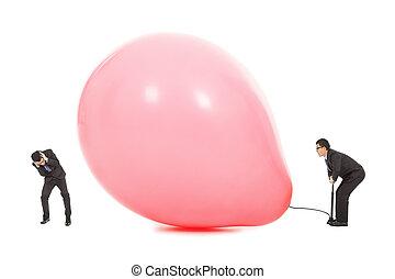 balloon, forskrækket, inflated, forretningsmænd, briste