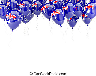Balloon frame with flag of australia isolated on white