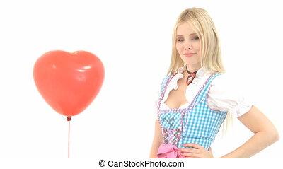 balloon, frau, dirndl