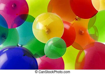 balloon, fundo, com, muitos, cores