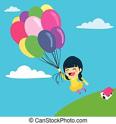 Balloon Girl Flying