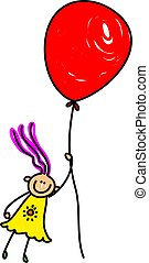 balloon girl - Whimsical drawing of a happy little girl ...