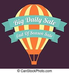 balloon., grand, vente, air, chaud, jour