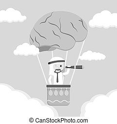 balloon, grondig, lucht, hersenen, arabisch, man