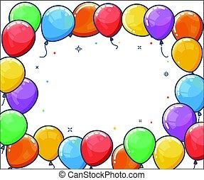 balloon, hélio, frame., coloridos