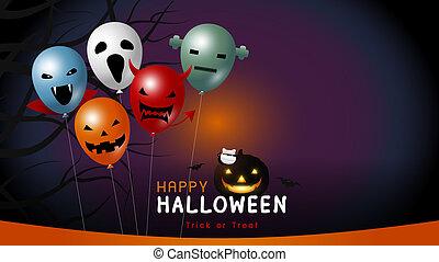 balloon, halloween, illustration, vecteur, conception, bannière, heureux