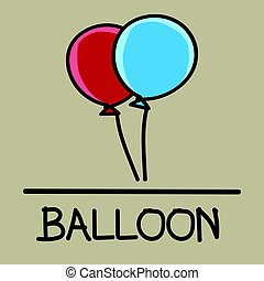 balloon hand-drawn style,Vector illustration.