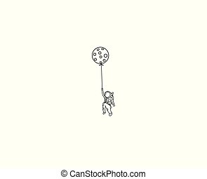 Balloon hanging astronauts space mission, Flat Line Art...