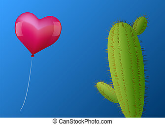 Balloon Heart Cactus - A pink heart shaped balloon...