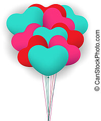 Balloon heart valentines background