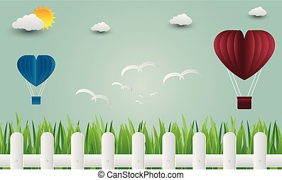 Balloon heart with bird flying into the sky. paper art. vector Illustration