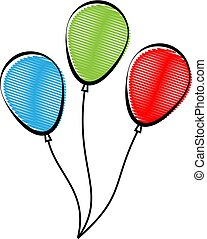 Balloon, Helium Filled Balloon In Red Green Blue Color