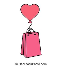 balloon helium in heart shape with bag shopping