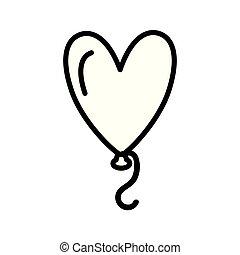 Silhouette two balloon in heart shape flying vector illustration