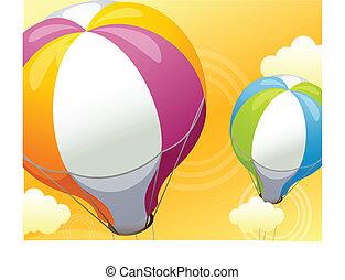 balloon, hemel, lucht, warme