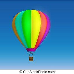 balloon, hemel, warme, achtergrond, lucht