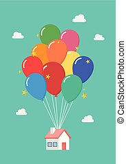 Balloon house vector illustration