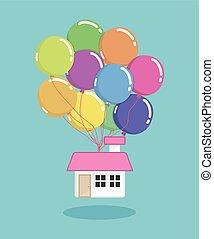 balloon house vector/illustration