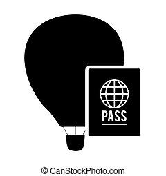 balloon, icône, chaud, passeport, air