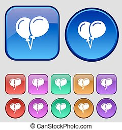 balloon Icon sign. A set of twelve vintage buttons for your design. Vector