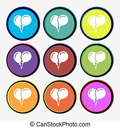 balloon Icon sign. Nine multi colored round buttons. Vector