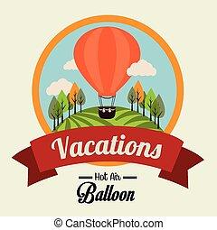 balloon, illustratie, lucht, vector, beige achtergrond, op