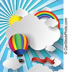 balloon., illustration, luft, varm, vektor, solljus, moln