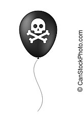 balloon illustration with a skull