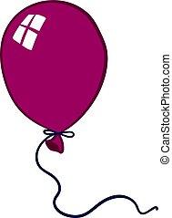 balloon, illustrazione, viola, fondo., vettore, bianco