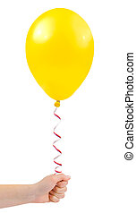 Balloon in hand isolated on white background