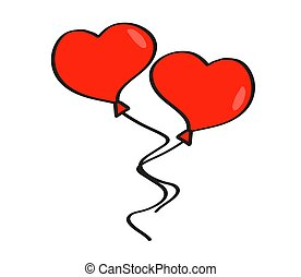 Balloon in the shape of a heart on a white background. Vector