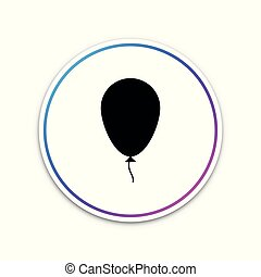 balloon, isolé, illustration, button., arrière-plan., vecteur, cercle blanc, ruban, icône