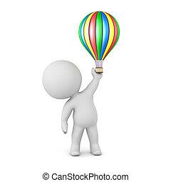 balloon, karakter, lucht, warme, kleine, 3d