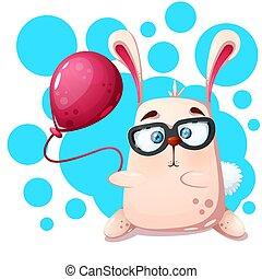 balloon., konijn, gekke , schattig, neushoorn