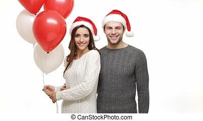 balloon., lent, baiser, donner, joue, mouvement, sien, tenue, petite amie, caucasien, homme