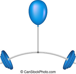 Balloon lifting a heavy barbell